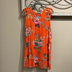 Orange Floral Mini Dress